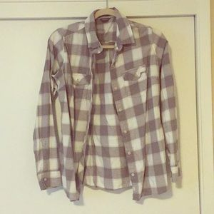 Gray and white plaid button down shirt